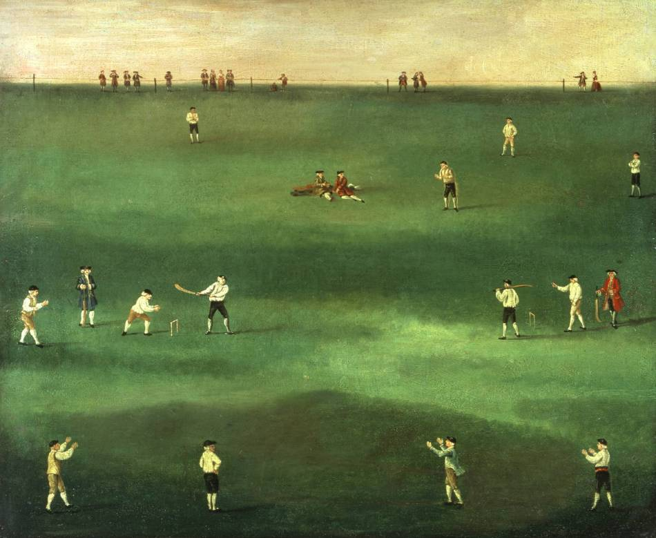 An Exact Representation of the Game of Cricket circa 1760 by Louis Philippe Boitard active 1734-1760